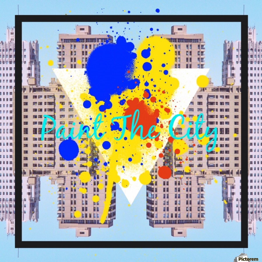 paint the city yellow blue and orange with buildings background  Print