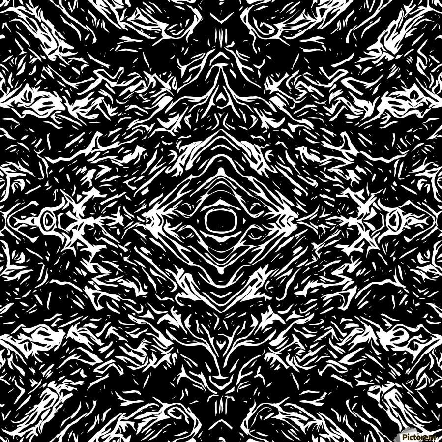 Psychedelic graffiti symmetry art abstract in black and for Best black and white prints