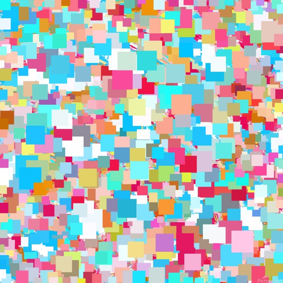 geometric square pixel pattern abstract background in blue pink orange green  Print
