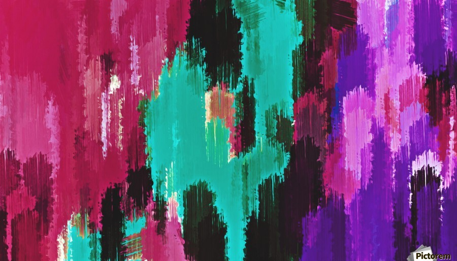 red pink purple green and black painting abstract background  Print