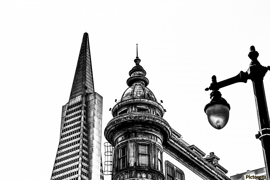 pyramid building and vintage style building at San Francisco, USA in black and white  Print