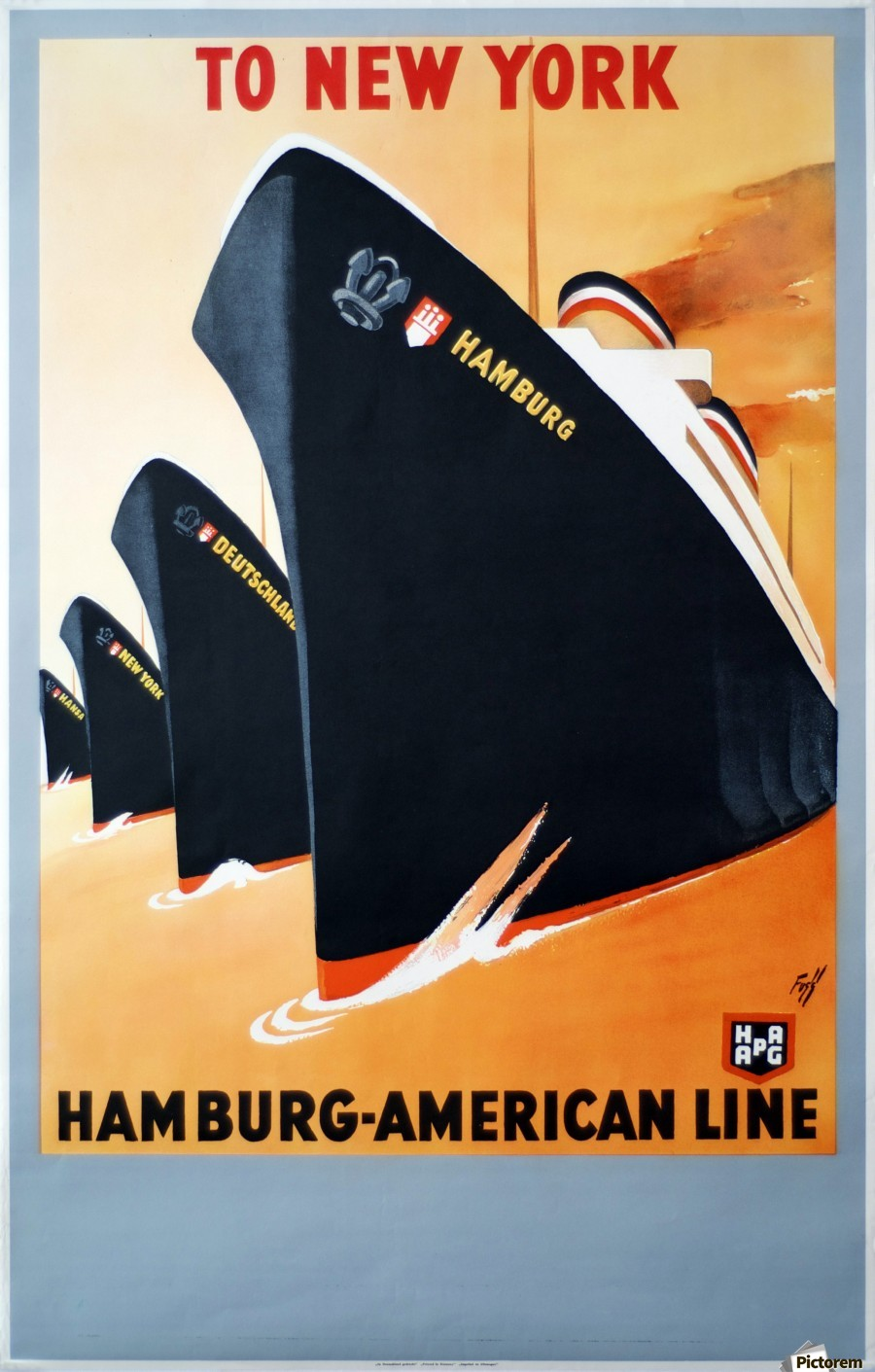 To New York Hamburg American Line travel poster  Print