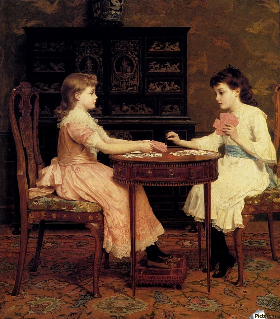 Two girls playing cards  Print