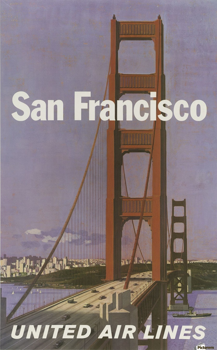 United Airlines Poster for San Francisco  Print