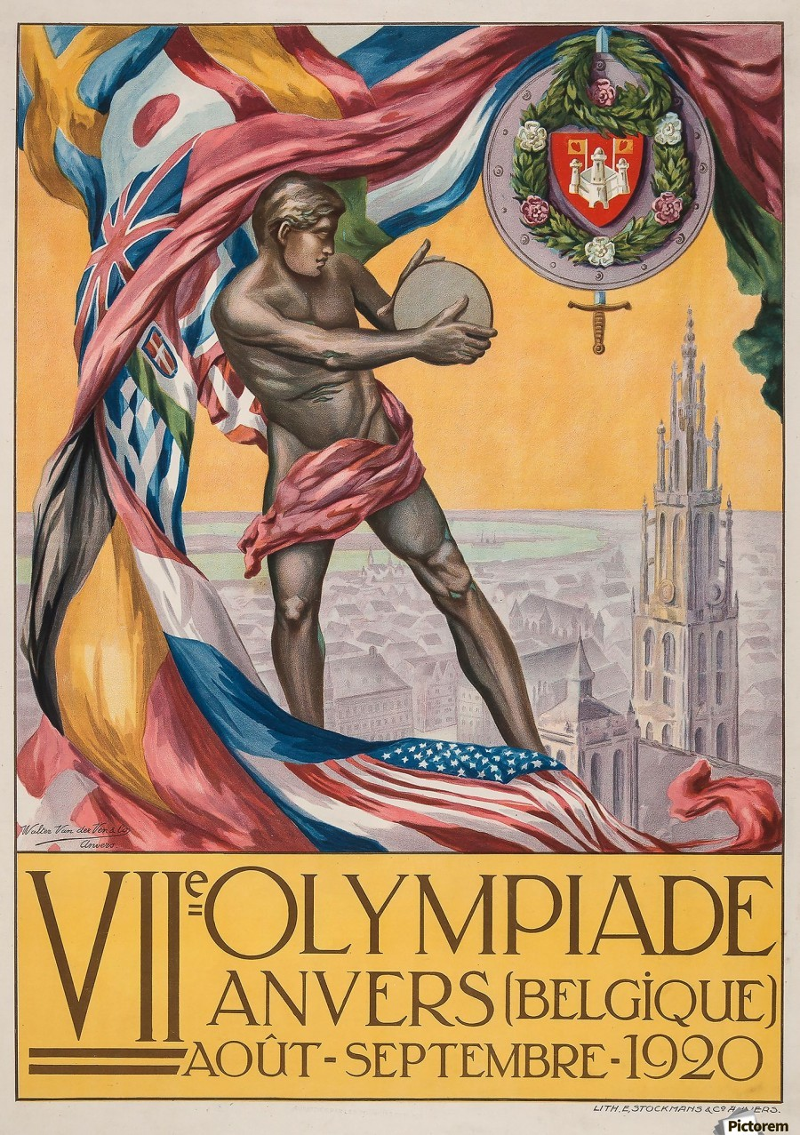 VII Olympiade, Anvers lithographic poster  Print