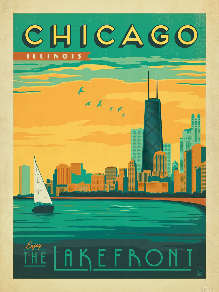 Chicago Lakefront travel poster  Print