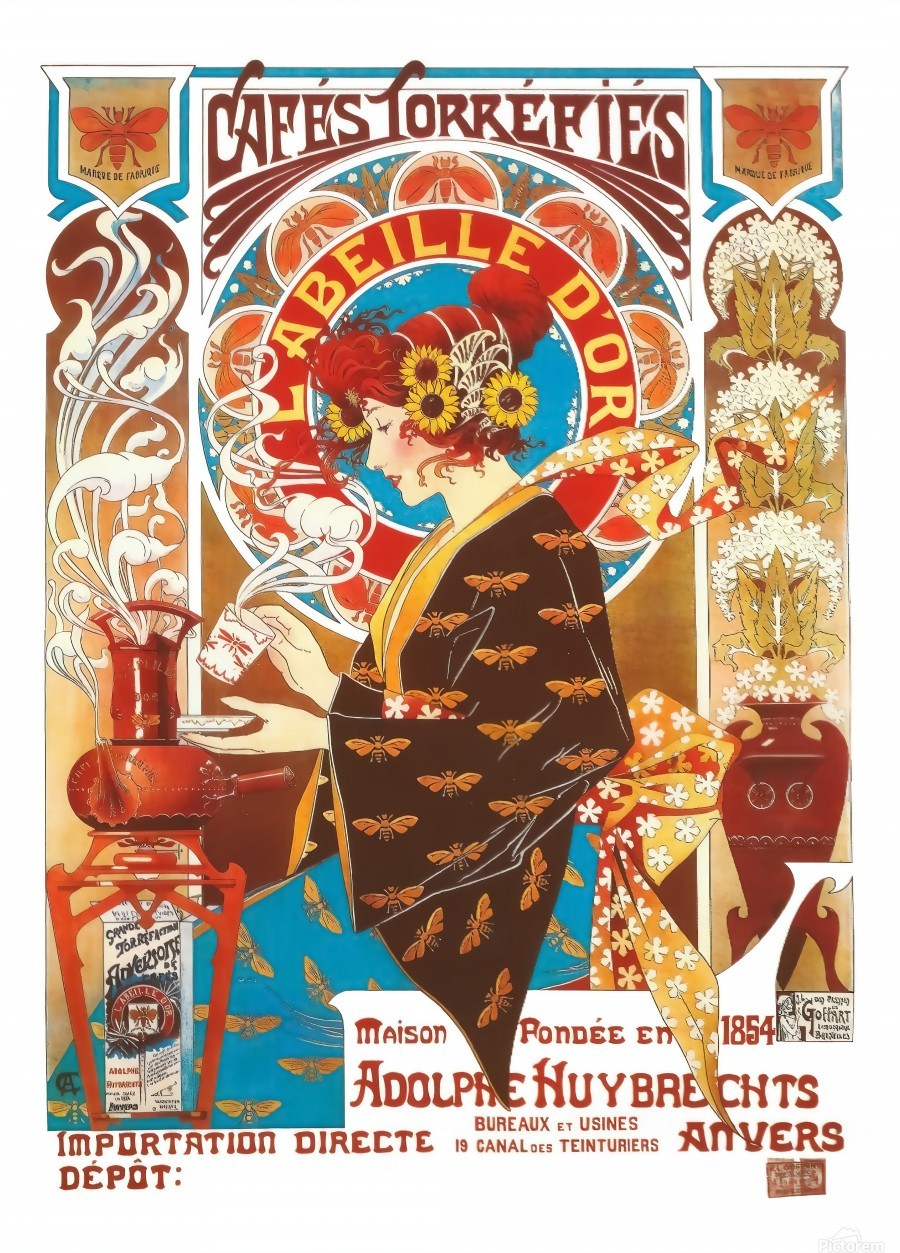 French Art Nouveau Vintage Ilration Coffee Poster Canvas Artwork
