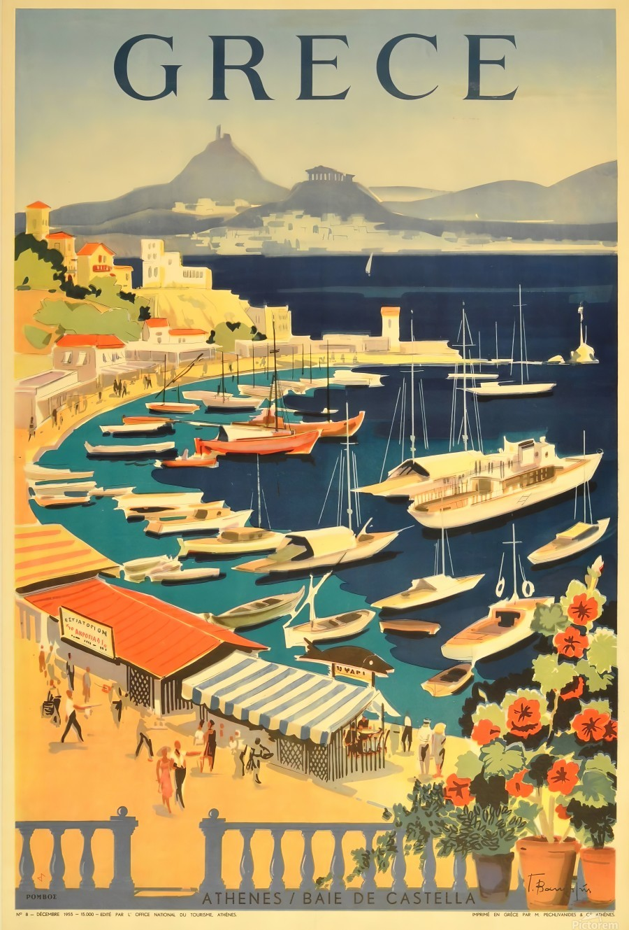 Greece original vintage travel poster  Print