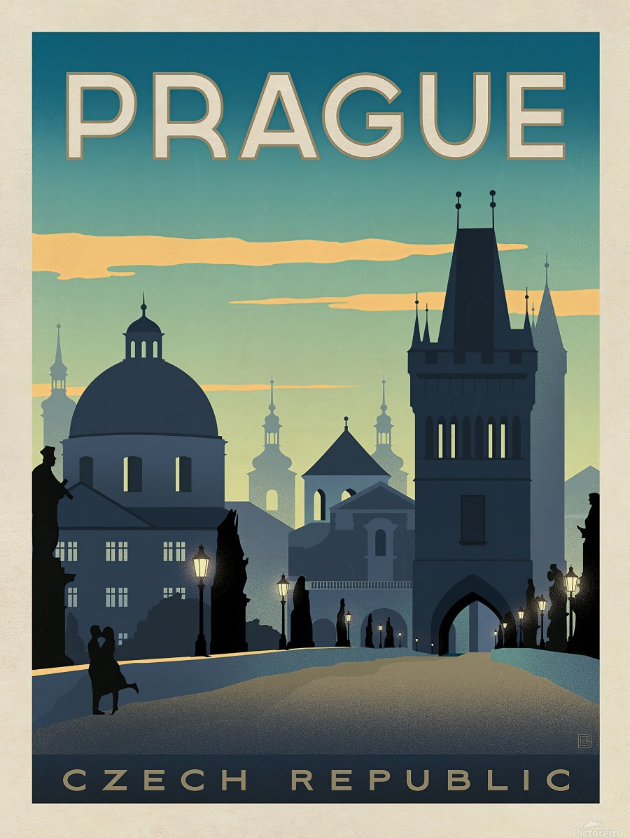 Prague vintage travel poster  Imprimer