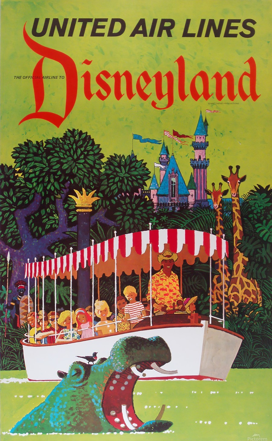 United Air Lines the official airline to Disneyland poster  Print
