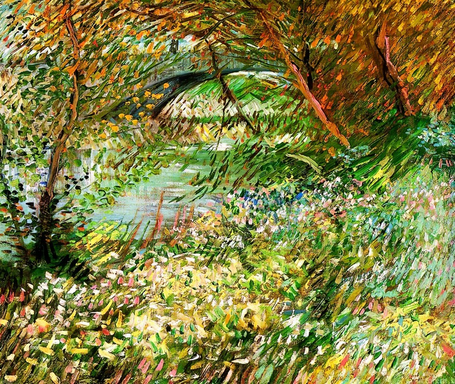Banks of the Seine with Pont de Clichy in the Spring by Van Gogh  Print