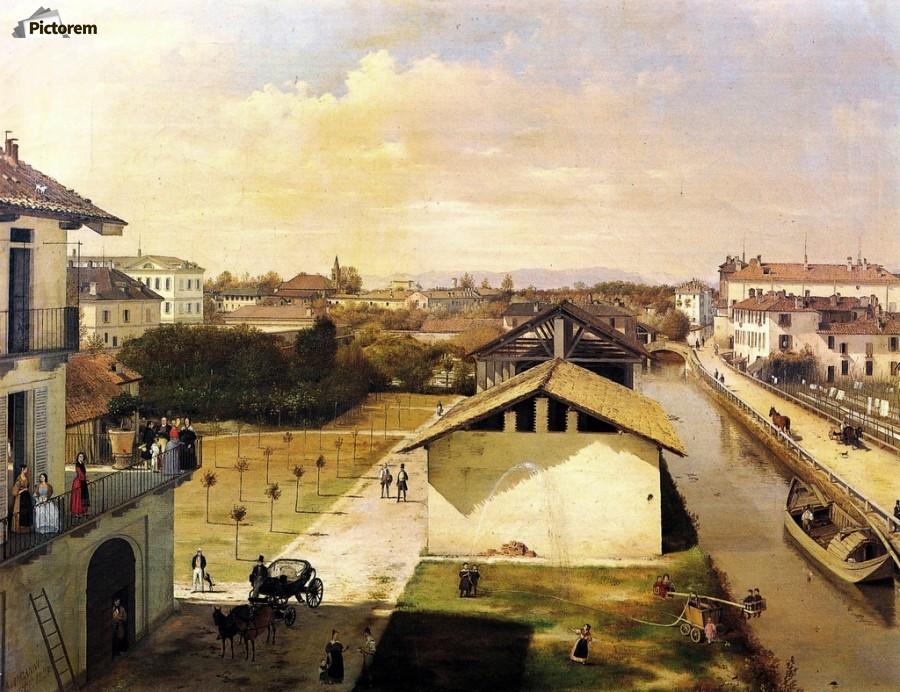 Veduta Del Naviglio Di San Marco Dalla Terrazza Di Ca Medici Milano 1837 Angelo Inganni Canvas Artwork