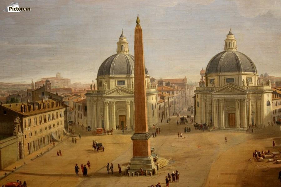 Veduta di piazza del popolo a roma caspar van wittel canvas