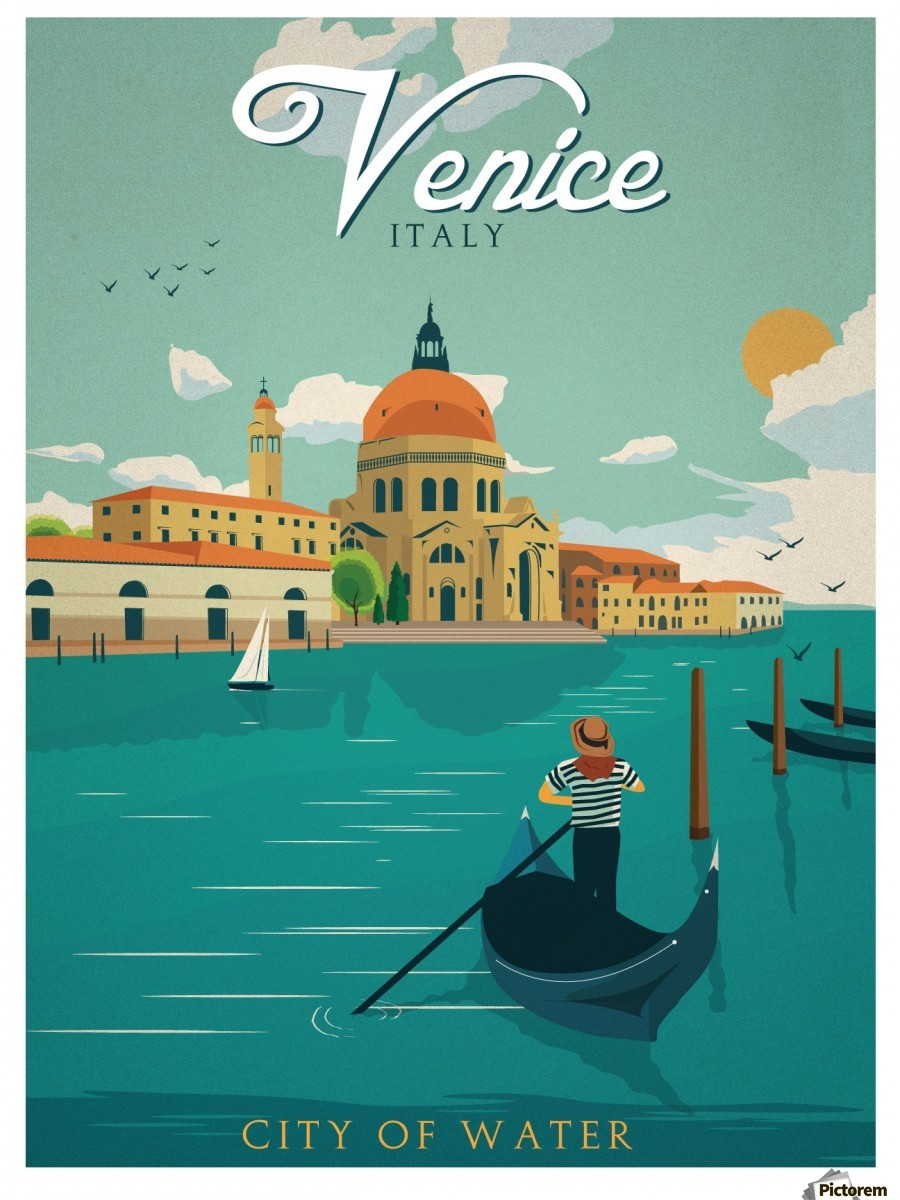 Venice Vintage Travel Poster , VINTAGE POSTER , Canvas Artwork