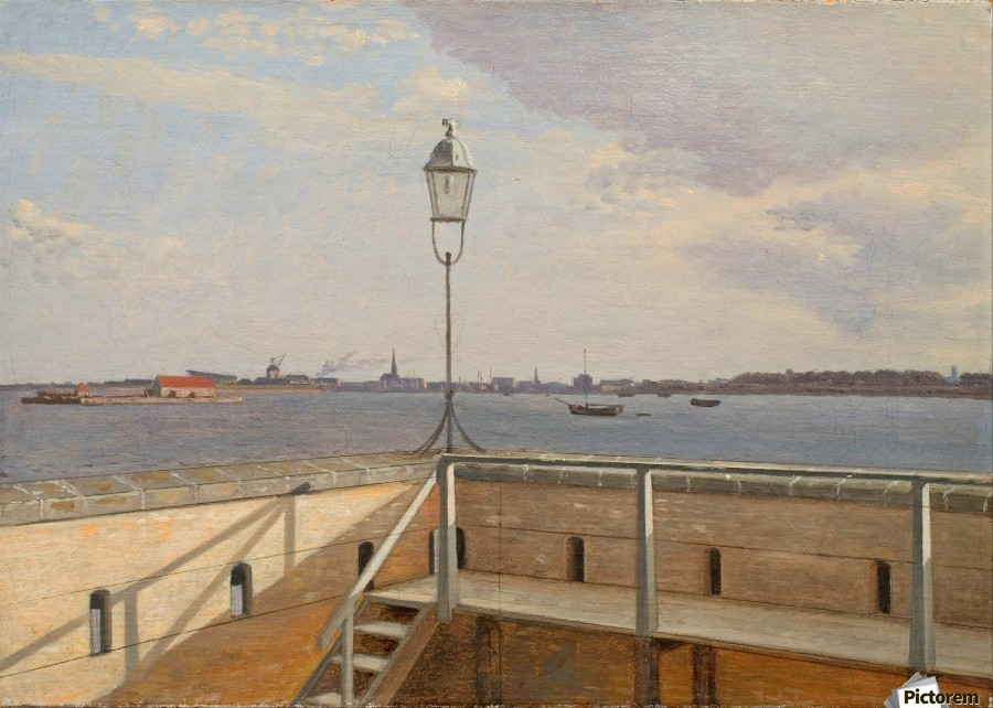 View from the Trekroner Battery with Copenhagen in the distance  Print