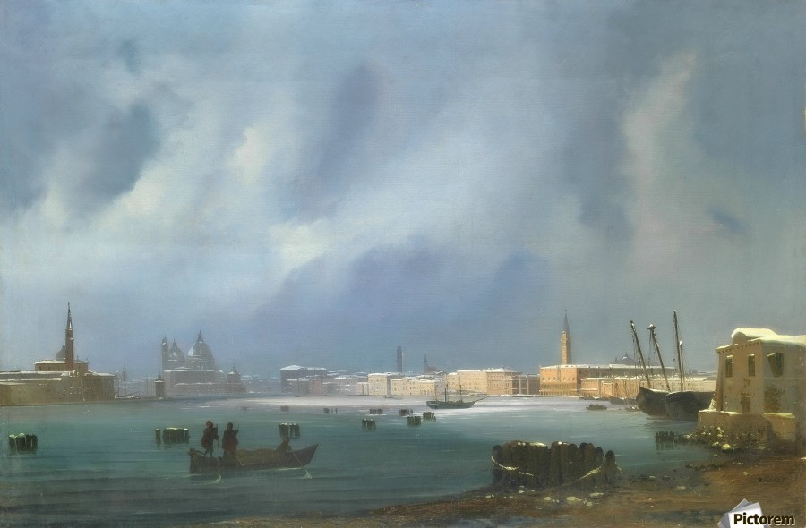 View of St. Mark's Basin in Venice under the snow  Print
