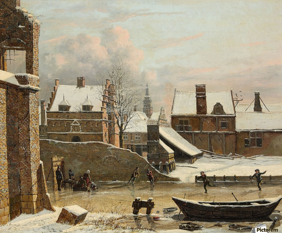 View of a City in Winter with Ice Skaters  Print