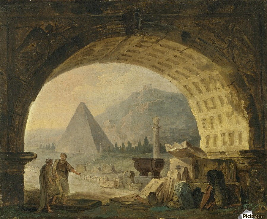 View of antiquities under an arch  Print