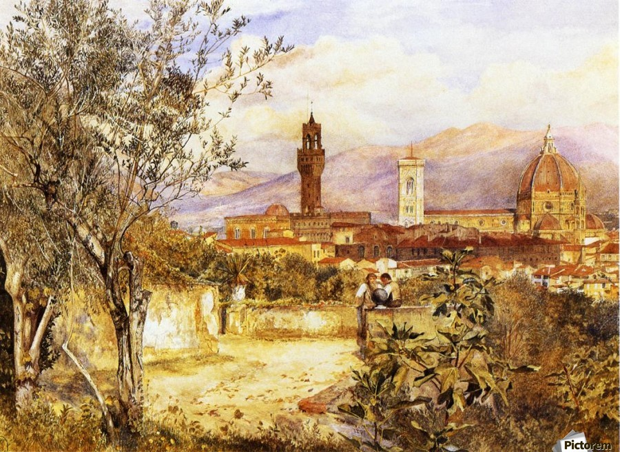 View of the Duomo fro the Mozzi Garden Florence 1877  Print