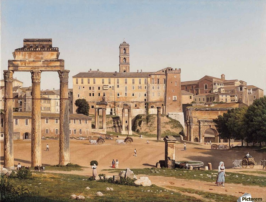 View of the Forum in Rome  Print