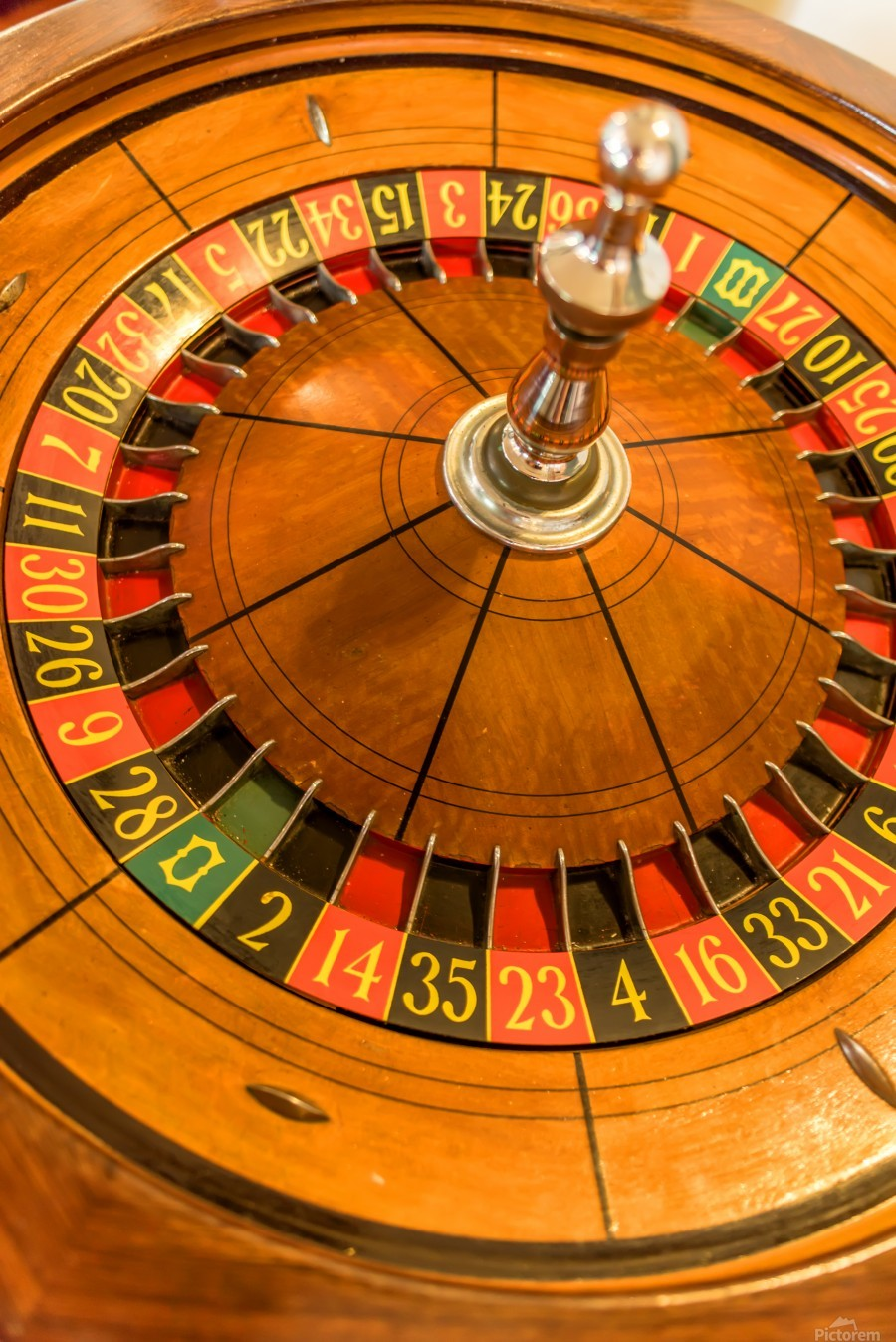 Round, wooden roulette wheel with numbers around the wheel  Print