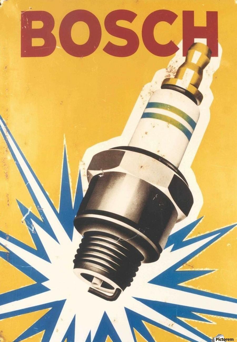 Vintage Bosch Spark Plug Automobile Vintage Poster Canvas