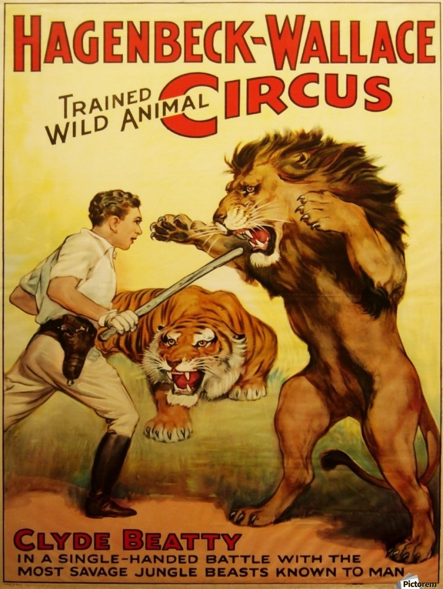 Vintage Circus Poster, Lion Tamer Poster - VINTAGE POSTER Canvas