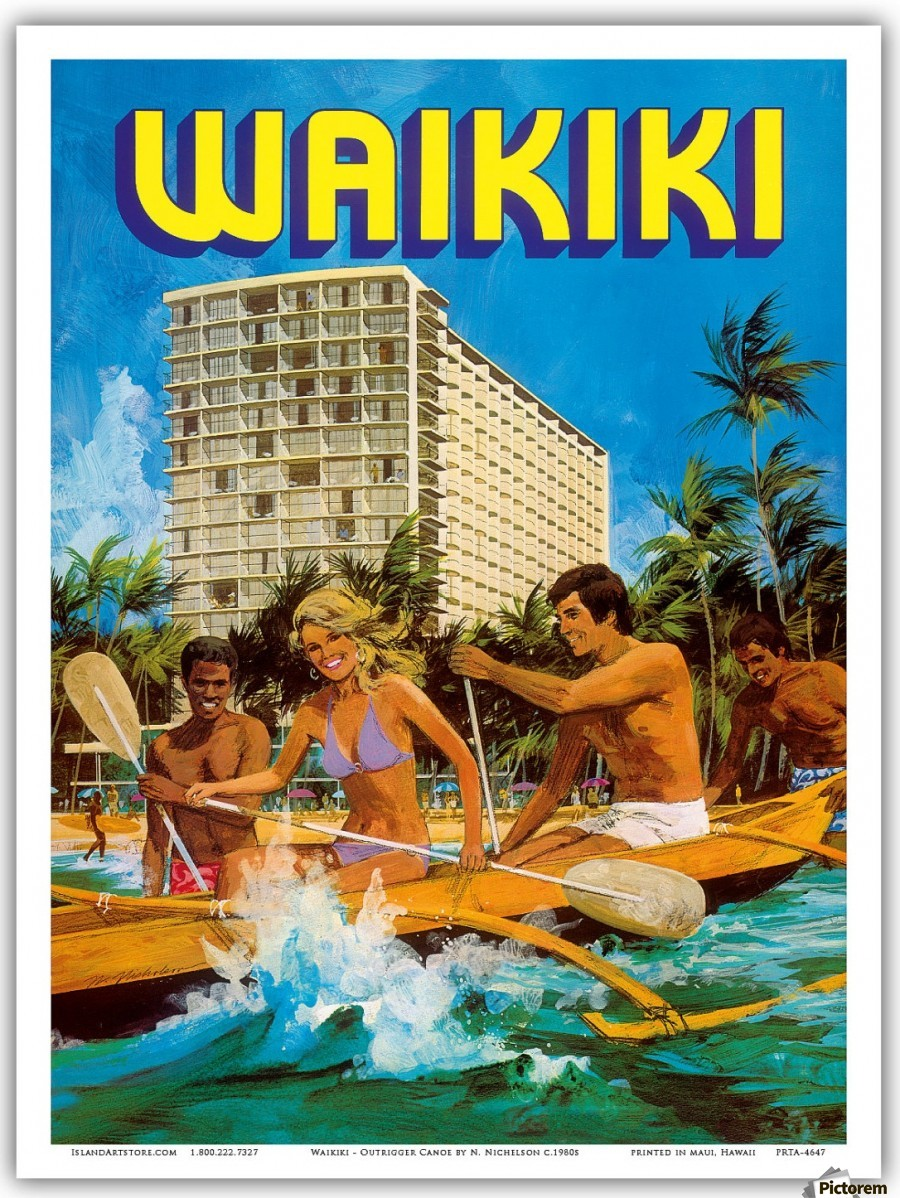 vintage hawaii travel poster vintage poster canvas