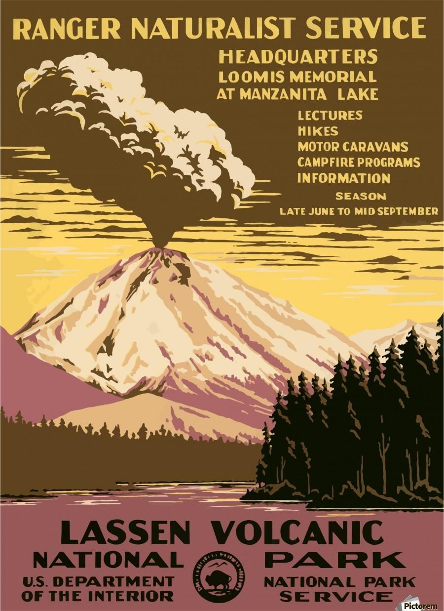 Vintage Travel Poster Lassen Volcanic National Park - VINTAGE POSTER ...