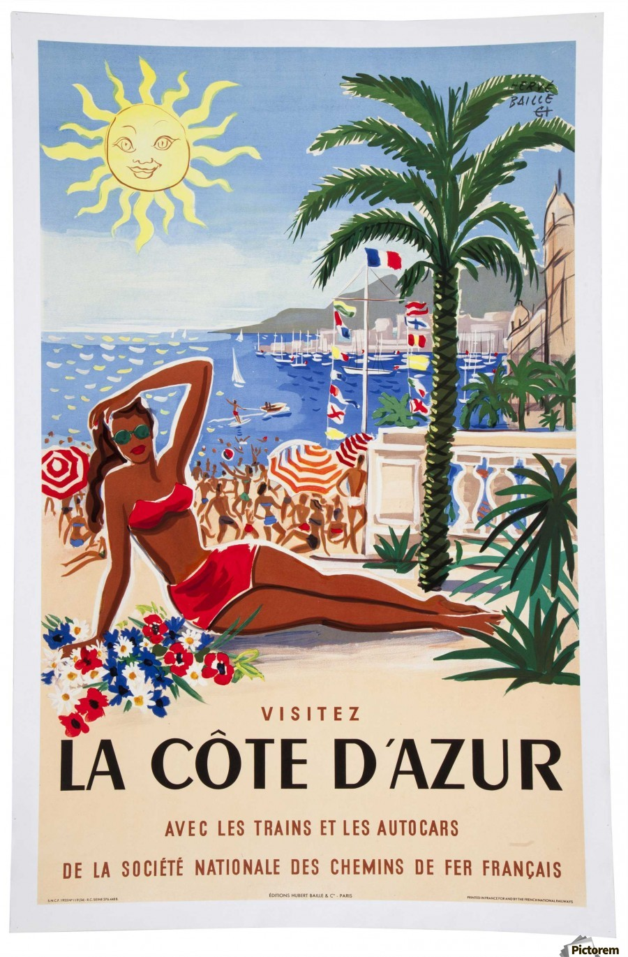 vintage poster for french riviera vintage poster toile. Black Bedroom Furniture Sets. Home Design Ideas