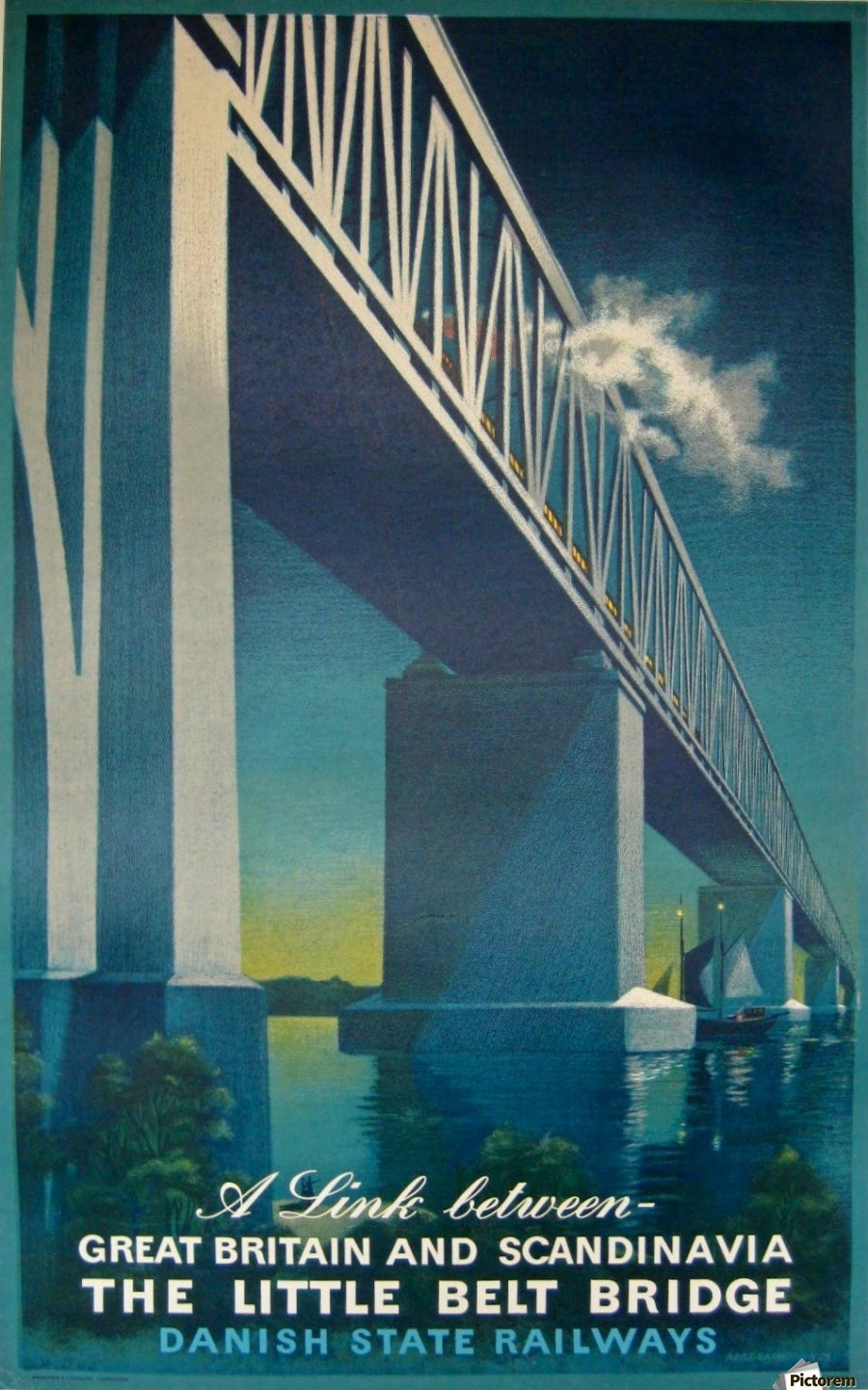 Vintage travel poster for Danish State Railways  Print
