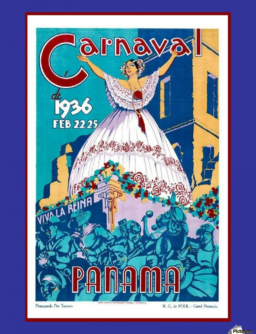 Vintage travel poster for Panama Carnival 1936 - VINTAGE POSTER Canvas