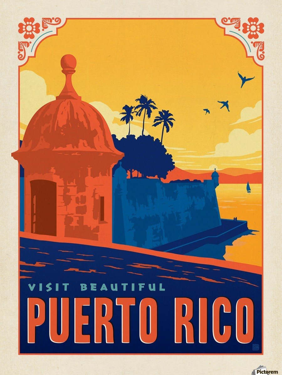 Visit Beautiful Puerto Rico poster - VINTAGE POSTER Canvas