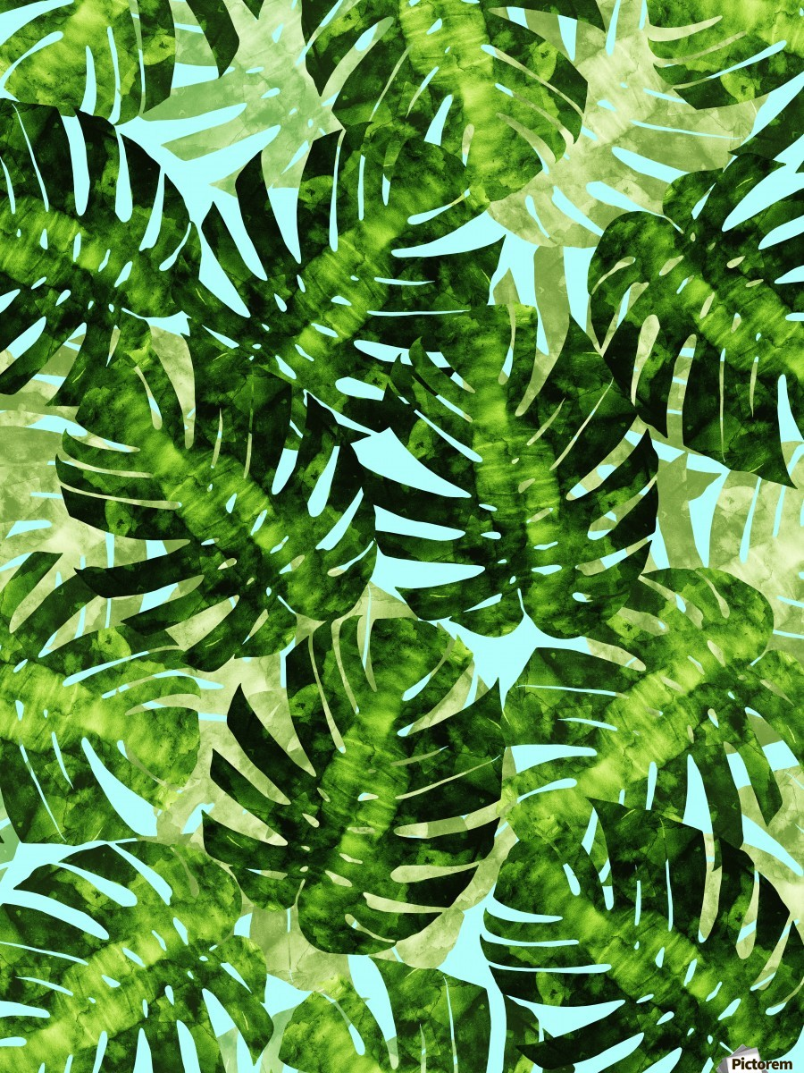 Watercolor leaves tropical I  Print