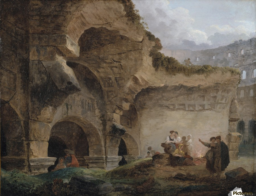 Washerwomen in the Ruins of the Colosseum  Print