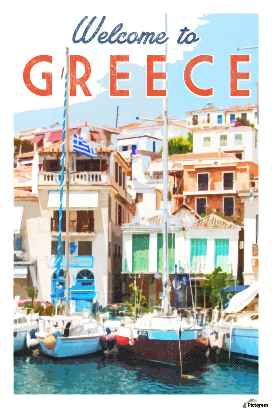 Welcome to Greece travel poster