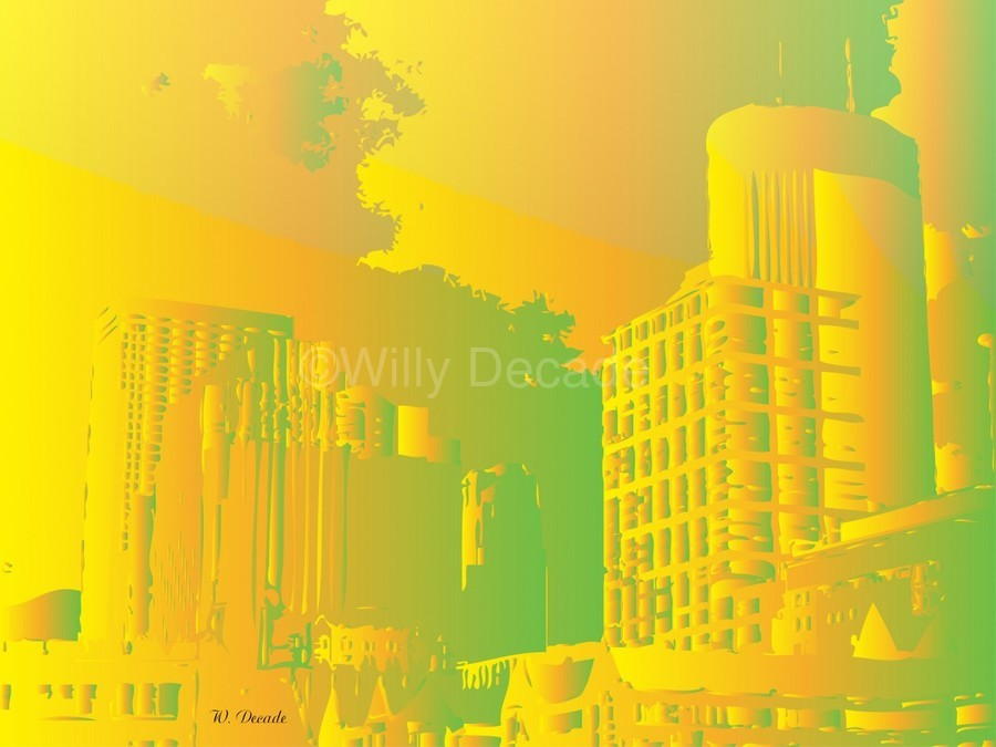 Abstract Building Minneapolis Skyline  Print