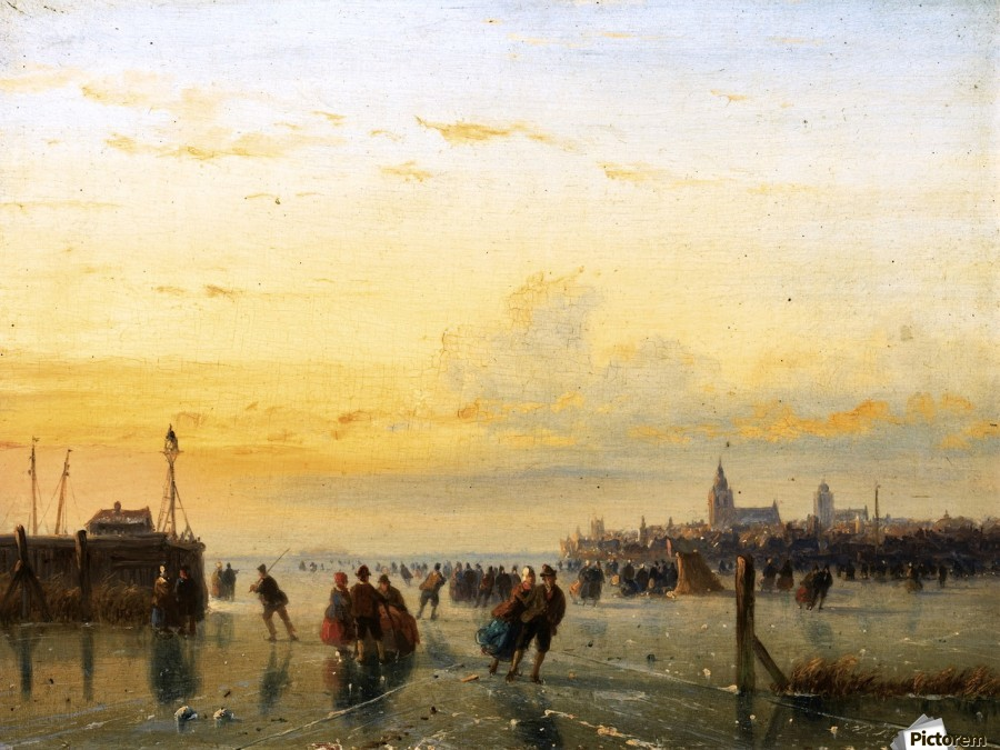 Winter Landscape with Skaters on a Frozen River  Print