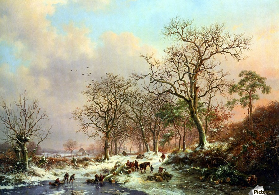 Winter landscape with figures near lake  Print