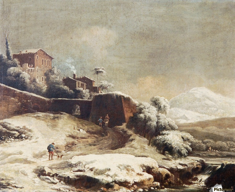 Winter landscape with village and mountains beyond  Print