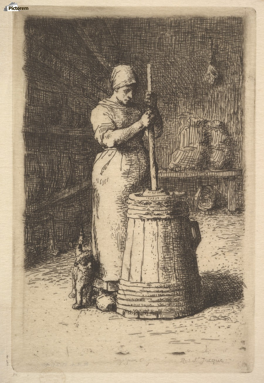 Woman churning butter  Print