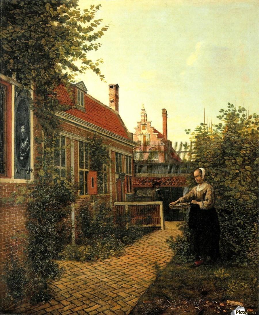 The Kitchen Garden Woman With Basket Of Beans In The Kitchen Garden Pieter De Hooch