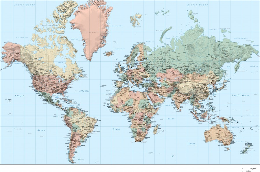 World Map Hi-res - WorldFlag - Canvas Artwork