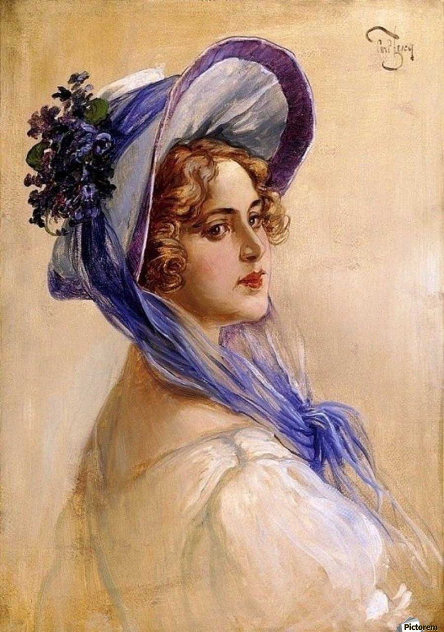 Youbg lady with purple hat  Print