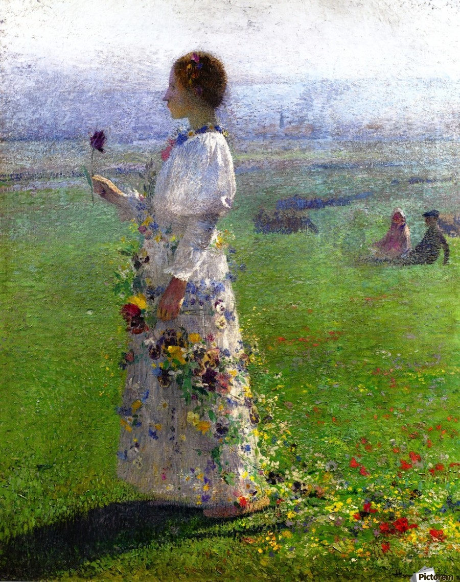 Young Woman Walking by the Field  Print