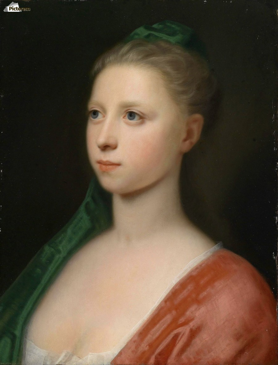 Young Woman in a Red Fur-Trimmed Coat  Print