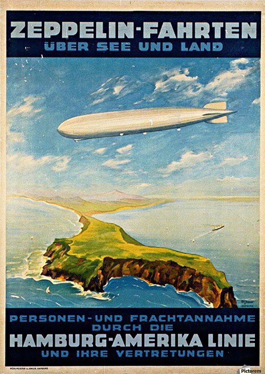 zeppelin hamburg america line poster vintage poster canvas. Black Bedroom Furniture Sets. Home Design Ideas