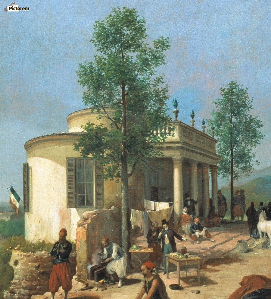 Zouave camp on Brescia city walls in June 1859  Print