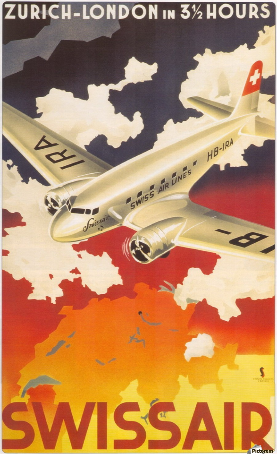 Zurich - London travel poster for Swissair  Print