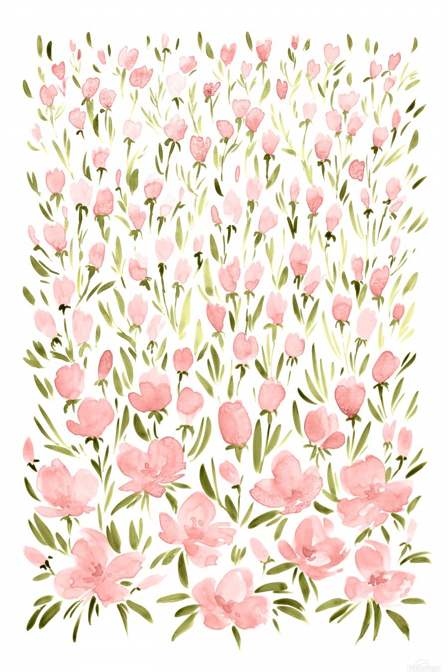 Field of pink watercolor flowers by blursbyai  Print